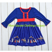 hot sell christmas blue nativity dress boutqiue baby girl hot style dresses