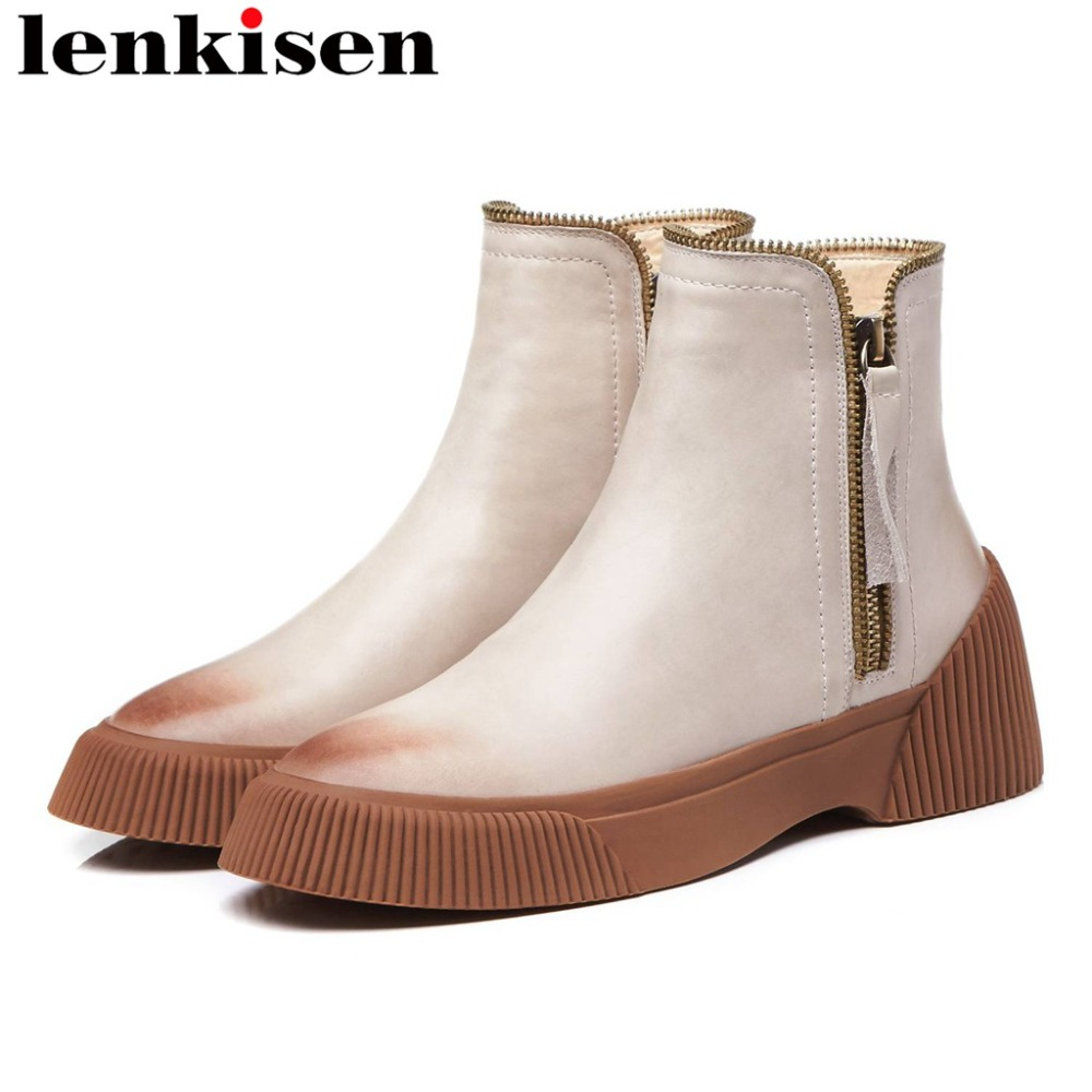 European fashion show boots chic streetwear metal zipper genuine leather platform med bottom flat with round toe ankle boots L11European fashion show boots chic streetwear metal zipper genuine leather platform med bottom flat with round toe ankle boots L11