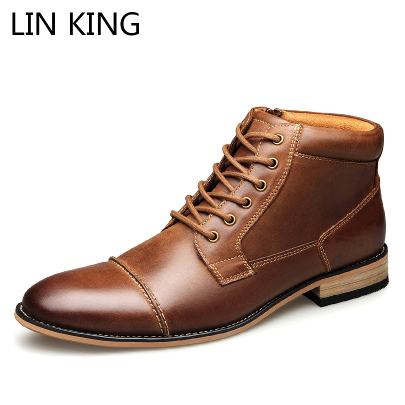 LIN KING Big Size Classic Men Fashion Boots Cow Leather Zipper Safety Work Boots Spring Autumn Casual  Boots Botas Hombre