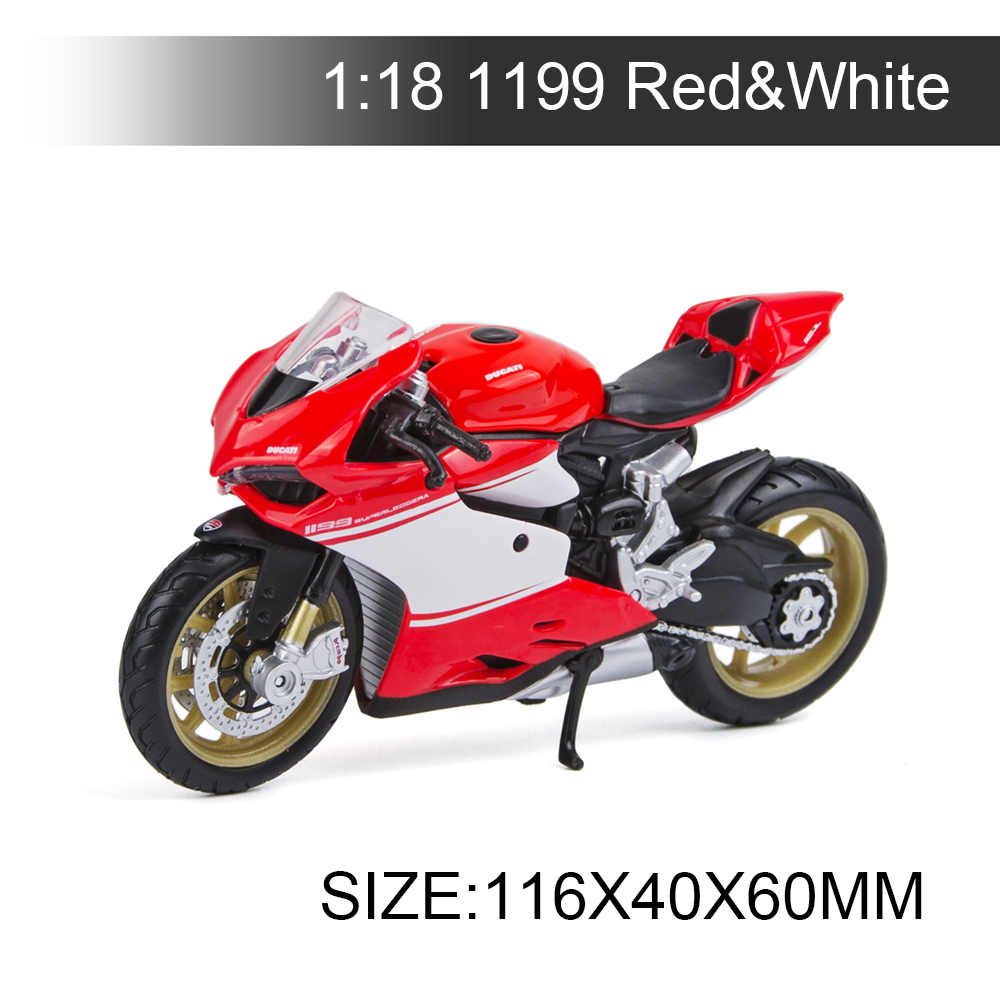 Maisto 1:18 Motorcycle Models Ducati 1199 Superleggera Red&White Diecast Moto Miniature Race Toy For Gift Collection