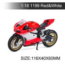 Maisto modelos de motos Ducati 1199, Superleggera, color rojo y blanco, juguete de carreras en miniatura para colección de regalos