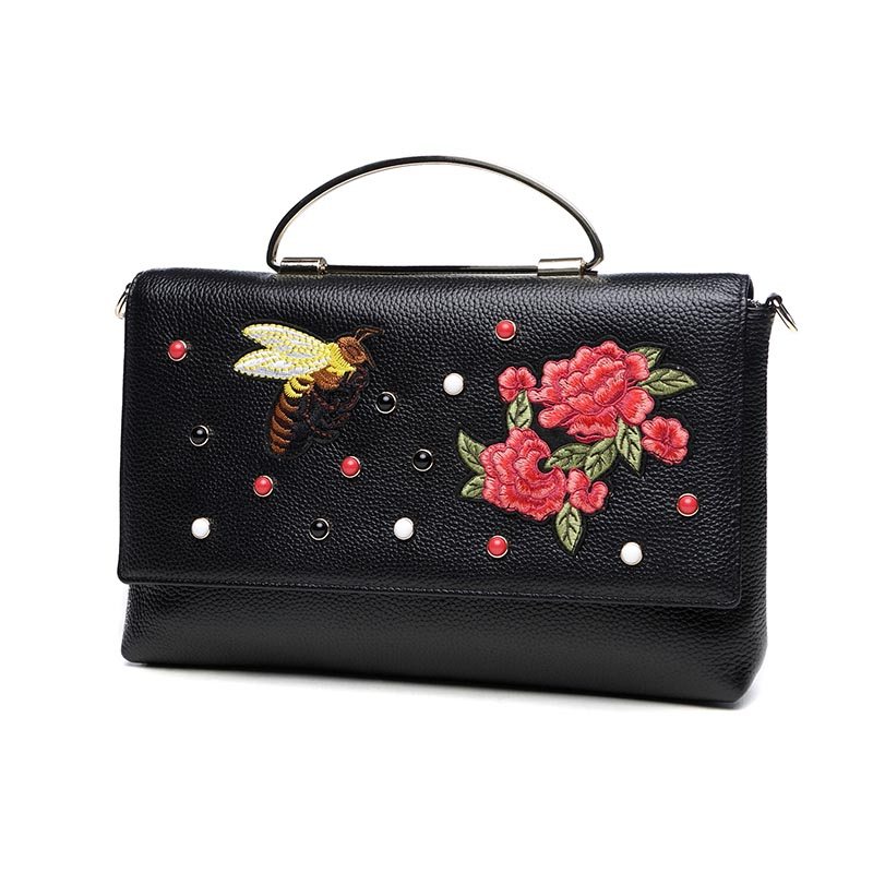 Women Genuine Leather Handbag Flowers Bee Embroidery Rivet Shoulder Bag Small Cross Body Bag Retro Female Totes Hand Clutch Bag 2017 new national wind aslant handbag embroidered flowers small square bag rivet shoulder bag