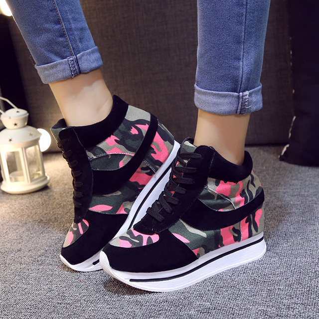 Zapatos de mujer Plataforma de Los Tacones Altos Envío Libre De Cuña Ocasional Zapatos casuales Zapatos de La Aptitud de 2017 Nueva Moda Casual de Las Mujeres zapatos