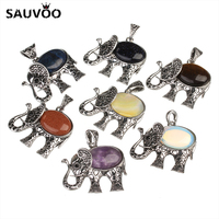 SAUVOO Vintage Carved Bail Hole Cute Natural Stone Elephant Charms Pendant 45*42mm fit Buddha DIY Jewelry Making Findings