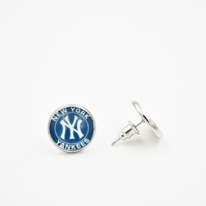 Stainless Steel 6 Style NY Yankees 12MM Glass Round Piece Earrings Baseball Team ...