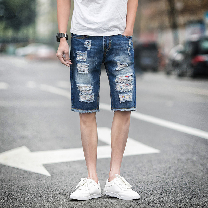 Large size 28-46 fashion denim shorts men five pants 2016 summer new small straight jeans denim whiskers