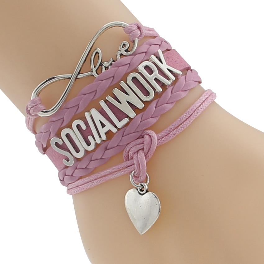 Free shipping!Infinity Love Social Work Bracelet Leather Braided Strap Velvet Bracelets for wokers Gift