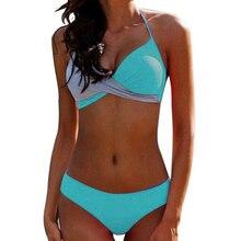 Patchwork Bikini Large Size Swimwear Women Push Up Separate Female Swimsuit Bandage Bathing Suit Plus Size Bikini 2019 Mujer