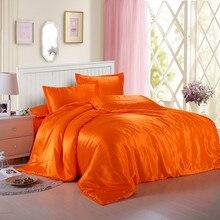 Jeefttby мягкие оранжевые желтый шелковый атлас 4 шт. простыни одноцветное цвет двойной моделирования шелковые шелковое постельное белье набор пододеяльников для пуховых
