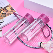 High Quality Eco-friendly PP Baby Bottle 450ML Mini Water with Straw Portable Pink Drink for Kids Students Adults