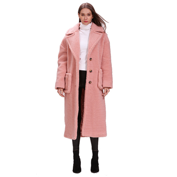 winter thick and warm 3 row buttons with pocket pink oversize X-long teddy coat cut and sew panel pocket decoration coat