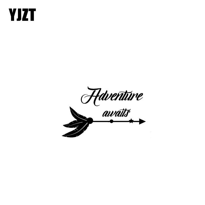 YJZT 17,8 см * 10,9 см Приключение ждет винил автомобиля мотоцикла Стикеры наклейка черный/Серебряный C13-000376
