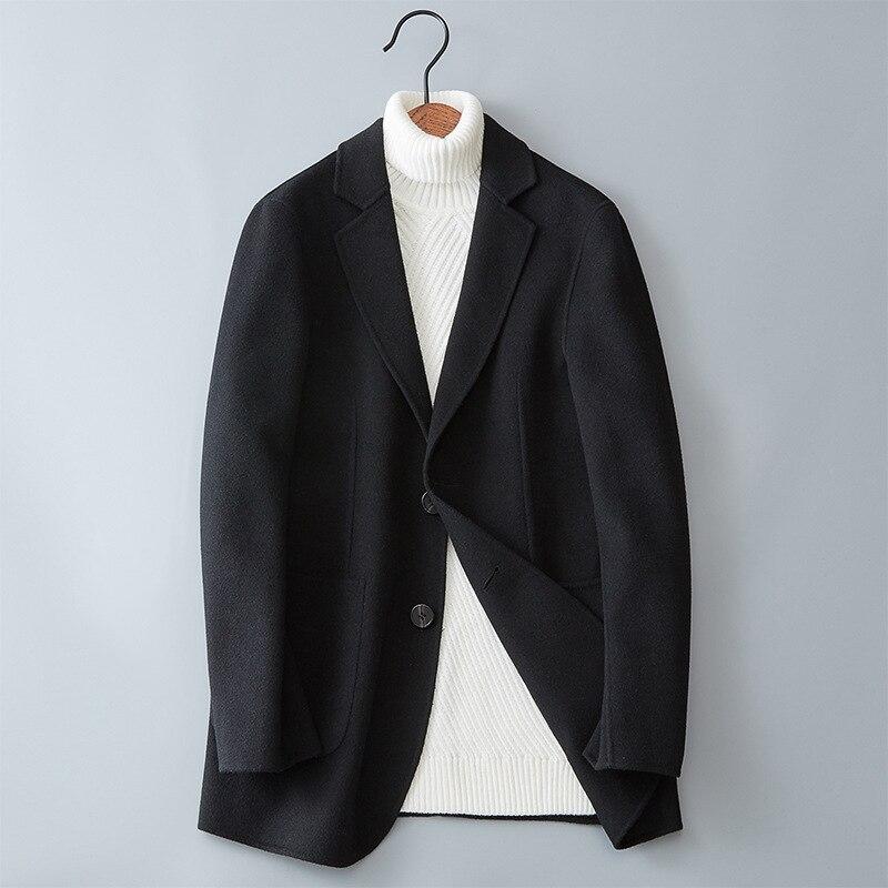 Erkek Kıyafeti'ten Yün ve Karışımları'de Sonbahar Kış Saf Renk erkek Uzun kollu Yünlü Palto Siyah Gri Şarap Kırmızı Lacivert Klasik Genç Erkek slim Fit Uzun Ceket'da  Grup 1