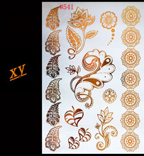 2015 Hot fashion metal gold and silver grain temporary tattoo sexy non-toxic Flash bracelet body art tattoo stickers