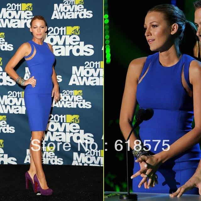 Blake Lively azul real de la celebridad vestidos cortos Pary vestidos O cuello hasta la rodilla vendaje vestidos Vestido