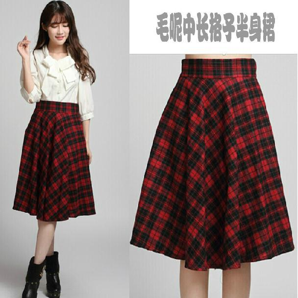 autumn vintage plaid high waist a line knee length