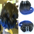 Full Shine Brazilian Short Weave Hair Extensions Remy Hair 1B Blue Ombre Body Wave Short Hair Weft Ombre Cabello Humano