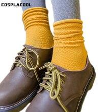 [Cosplacool] harajuku doce cor malha respirável meias femininas casual padrão de alta qualidade algodão heap heap reto meias mujer