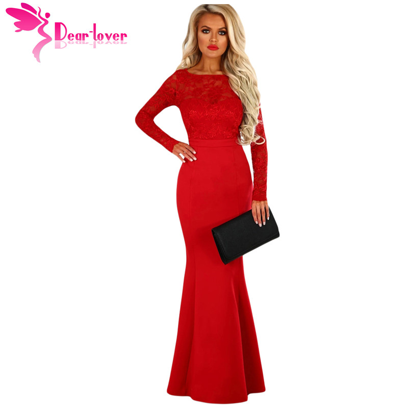 где купить Dear Lover Long 2018 Mermaid Dresses Sexy Backless Gowns Party Lace Long Sleeve Bow Back Maxi Dress High Quality Vestido LC61857 по лучшей цене