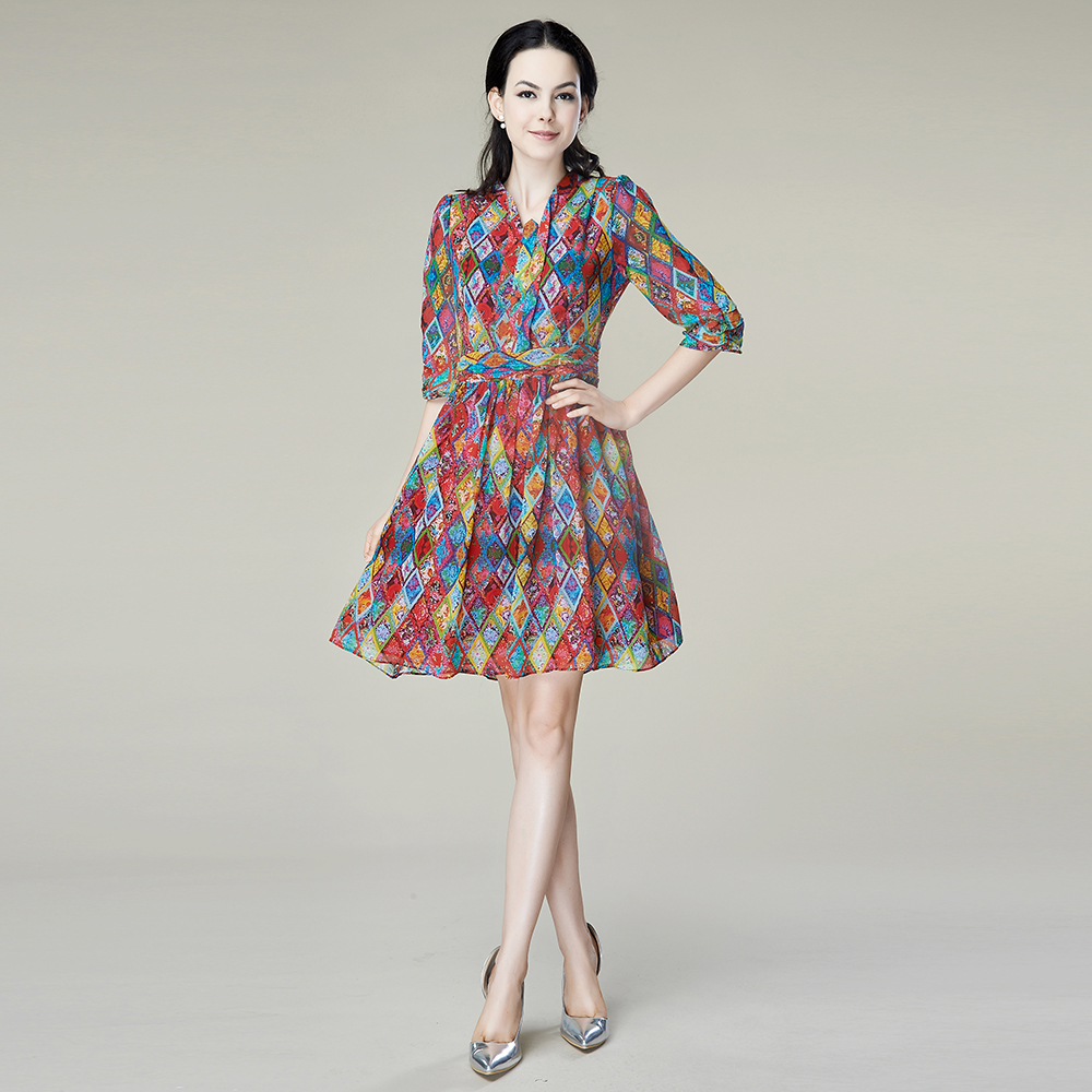 100% Silk Chiffon Dress Natural Silk Women Dress Exclusive Desigual Summer  New Party Dress S 4a7c8c35b4b4