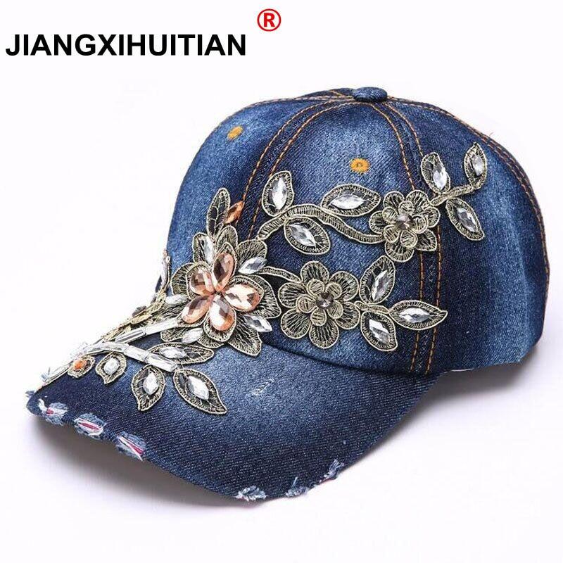 Women's Baseball Cap Diamond Painting Embroidery Flower Denim Snapback Hats Jeans Woman Female Cap Cowboy Summer Sun Hat