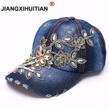 7937ec366cf89 Femmes casquette de baseball de broderie peinture diamant Fleur Denim casquette  snapback Jeans Femme casquette pour