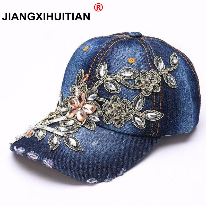 Women's   Baseball     Cap   Diamond Painting Embroidery Flower Denim Snapback Hats Jeans Woman Female   Cap   Cowboy Summer Sun Hat