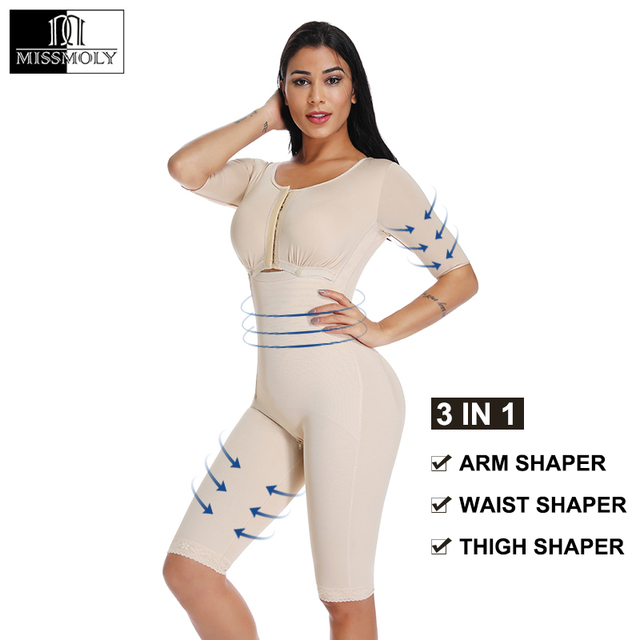 Vrouwen Powernet Full Body Shaper Post Chirurgie BodySuit Taille Trainer Corset Afslanken Dij Shapewear Tummy Controle Arm shaper