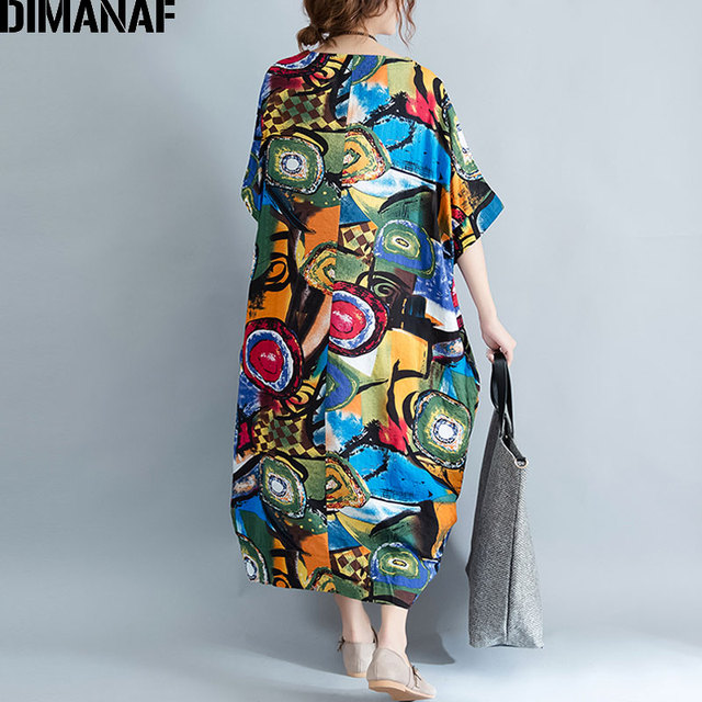 Women Dress Plus Size Summer Pattern Print Linen Colorful Female Loose Batwing Casual Retro Vintage Large Size Dresses 4
