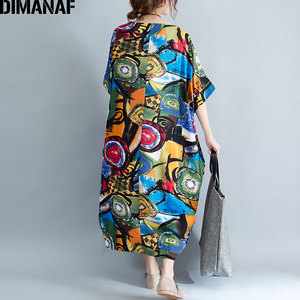 Image 5 - DIMANAF Women Dress Plus Size Summer Pattern Print Linen Colorful Female Loose Batwing Casual Retro Vintage Large Size Dresses