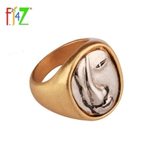 F.J4Z New Design Fashion Simple Party Finger Rings Trendy Vintage Face Top Alloy Rings For Woman Anillos De Mujeres