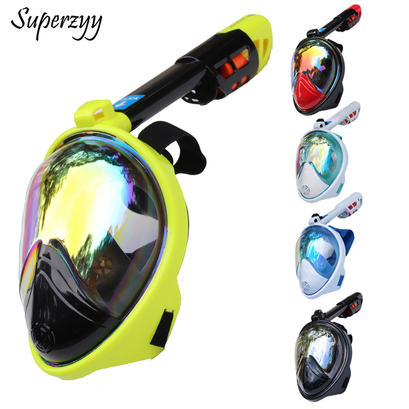 2018 Full Face Snorkeling Masks Panoramic View Anti-fog Anti-Leak Swimming Snorkel Scuba Underwater Diving Mask GoPro Compatible