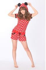 Дизайнер Kawaii Аниме Минни для женщин обувь для девочек Летний Комбинезон Onesie с ушками капюшон женский короткий рукав косплэй пижамы Топ+ шорт - Цвет: minnie