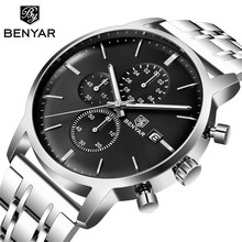 BENYAR 2019 New Men Watch Business Full Steel Quartz Top Brand Luxury Casual Waterproof leather Sports Male Wristwatch Relogio(China)