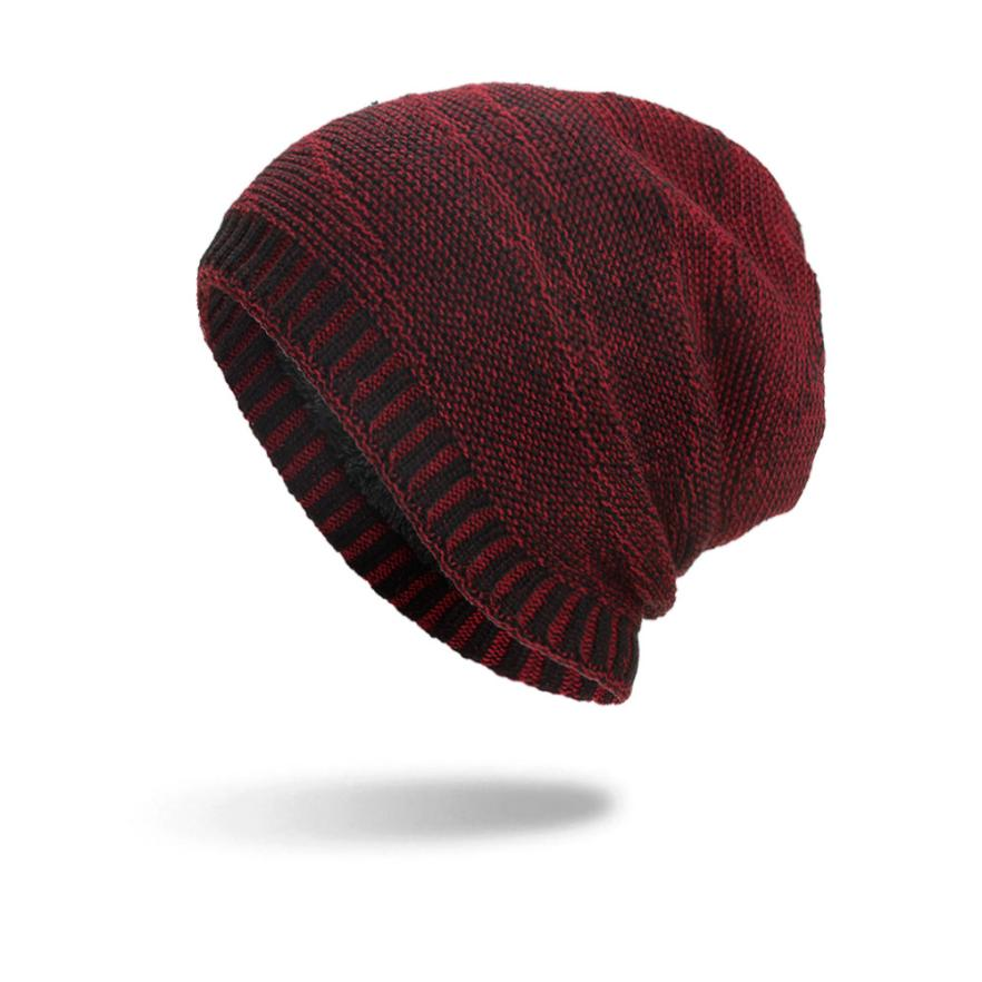 Striped Acrylic Hats Unisex Warm Winter  Knit Cap winter scarf cap Winter Hats For men Knit Hat Skullies Beanies casquette A8