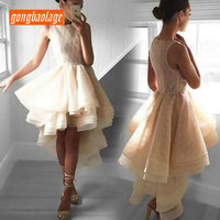 Elegant Champagne Short Prom Dress 2019 Sexy Prom Dresses Scoop Lace Zipper Sleeveless Knee Length Banquet Evening Party Gown