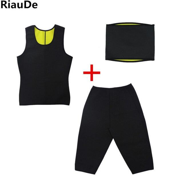 Neoprene Workout Body Natural Weight-Loss Shaper Belt Vest Pant Suit Men Sauna Sweat Vest Belts Shapers Slimming Plus Pants