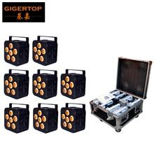 Embalaje Flightcase 8en1 6×18 W 6in1 carga Pilas Inalámbrica DMX Luz de Pantalla Plana LED Potencia de entrada/salida conector DMX 6/10 Canales
