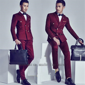 Wine Red Men Suit Double Breasted Custome Homme 2 Pieces(Jacket+Pants+Bow tie) Wedding Prom Slim Fit Blazer Suits For Men