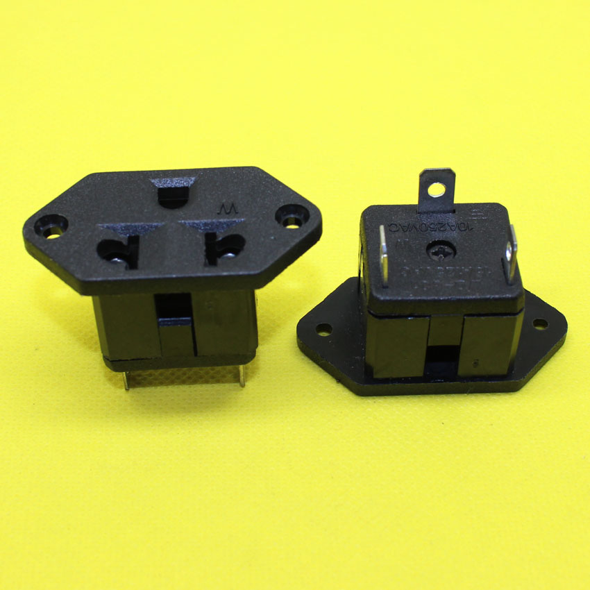 AD-062  Black AC 250V 10A Panel Mount US Outlet Power Socket Electrical Socket female industrial Socket plug power connector 5 pcs panel mounting us eu type female power supply plug 10a ac 250v