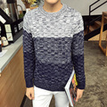 2016 New Arrival Spring Autumn Fashion Men's Casual Long Sleeved O-neck Slim Fit Pullover Gradient Patchwork Sweater Wine/Navy
