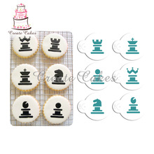6 дана / жиын Chess Cookies Трафарет Торттар және кубоккүл Stencil жиынтығы Cake Decorating Tools