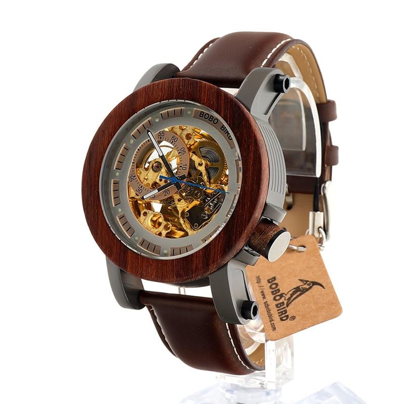 BOBO นก K12 กลไกนาฬิกาอัตโนมัติคลาสสิกสไตล์หรูหราผู้ชายอนาล็อกนาฬิกาข้อมือไม้ไผ่ไม้ด้วยเหล็กในของขวัญกล่องไม้