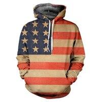 3D Print Hoodies Sweatshirts Men Fashion American Flag Hooded Sweats Tops Hip Hop Unisex Graphic Pullover