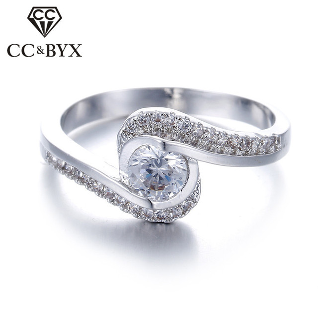 White Gold color Wedding Engagement Rings For Women CZ Lady Vintage Ring  Bijoux Bague Anillos Fashion Jewelry CC029