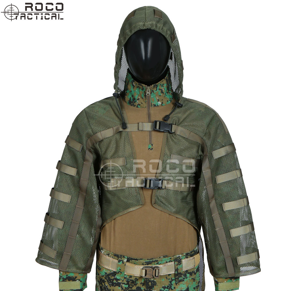 Sniper Tog Ghillie Suit Foundation Hydration Compatible Breathable Sniper Coats Viper Hoods Army Green Black