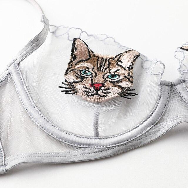 [original design] ultra-thin non-sponge transparent perspective embroidered sexy bra cover animation underwear set 3