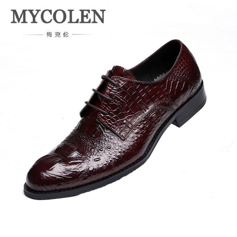 MYCOLEN Men Shoes Luxury Brand Designer Crocodile Shoes Men Black Genuine Leather Formal Wedding Dress Oxfords Derby Flats Shoes good quality men genuine leather shoes lace up men s oxfords flats wedding black brown formal shoes