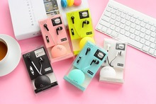 ID500 Hot cute headphones for mp3-player super cheap with wheat colored macarons box with wire phone headset ear ID500