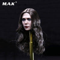 1/6 Head Sculpt 1:6 Elizabeth Olsen Scarlet Witch Head Model Long Curls Wanda Female Head Sculpt